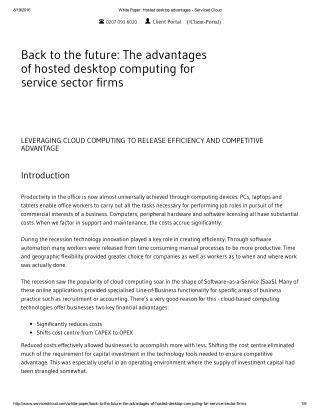 White Paper: Hosted desktop advantages - Serviced Cloud