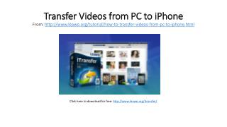 Transfer Videos from PC to iPhone