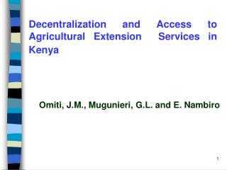 Decentralization and Access to Agricultural Extension  Services in Kenya
