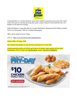 19 August Friday Offer - Long John Silver's