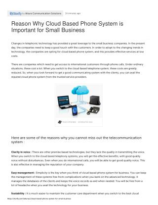 Reason Why Cloud Based Phone System is Important for Small Business