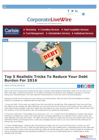 Top 5 Realistic Tricks to Reduce Your Debt Burden for 2016