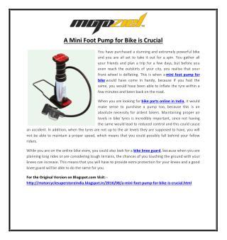 A Mini Foot Pump for Bike is Crucial