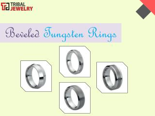 Beveled Tungsten Rings - Tribal Jewelry