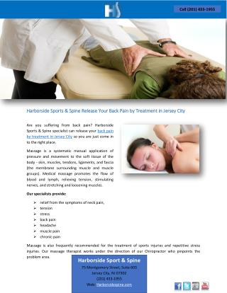Harborside Sports & Spine Release Your Back Pain by Treatment in Jersey City
