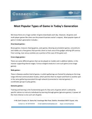 Most Popular Types of Game in Today's Generation