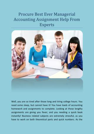 Procure Best Ever Managerial Accounting Assignment Help From Experts