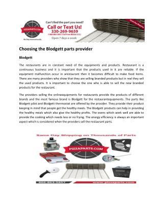 Choosing the Blodgett parts provider