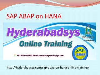 The Best SAP ABAP on HANA Online Training in USA, UK, Canada.