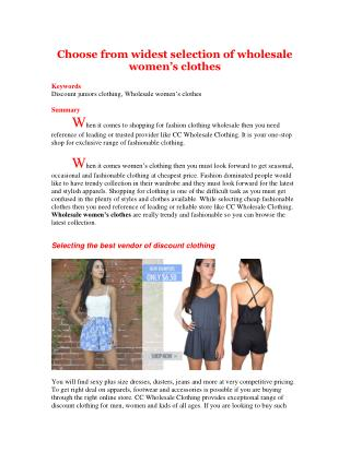 Choose from widest selection of wholesale women's clothes