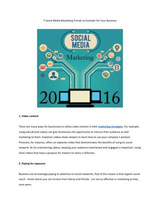 7 Social Media Marketing Trends to Consider for Your Business