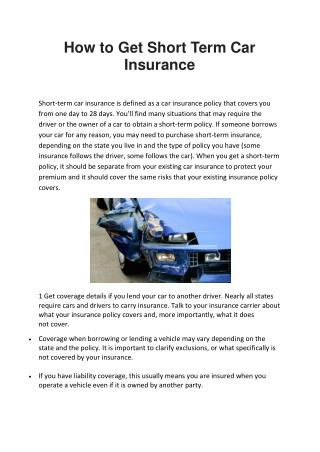 How to Get Short Term Car Insurance