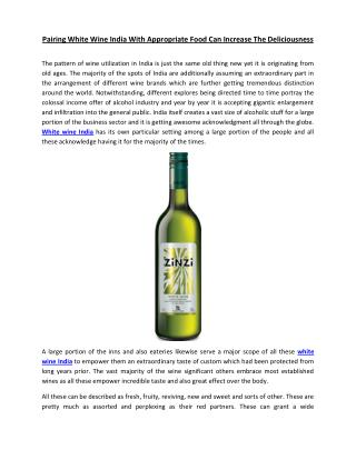 Pairing White Wine India With Appropriate Food Can Increase The Deliciousness