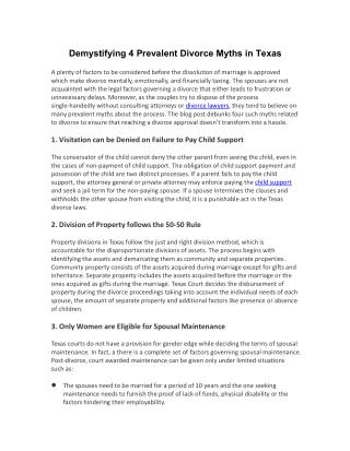 Demystifying 4 Prevalent Divorce Myths in Texas