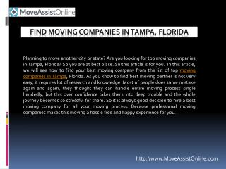 Best Moving Companies in Tampa, Florida