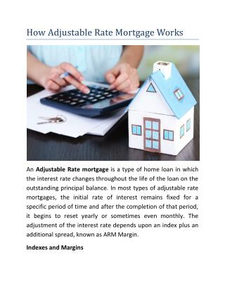 How Adjustable Rate Mortgage Works