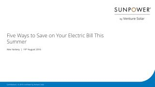 Five Ways to Save on Your Electric Bill This Summer