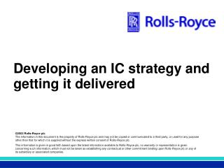 Developing an IC strategy and getting it delivered