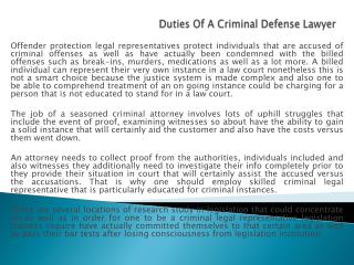 Duties Of A Criminal Defense Lawyer