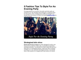 5 Fashion Tips To Style For An Evening Party