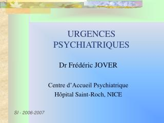URGENCES PSYCHIATRIQUES