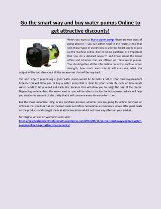 Go the smart way and buy water pumps online to get attractive discounts