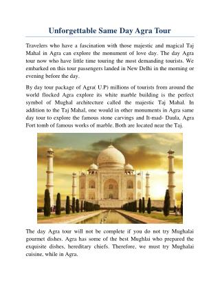Unforgettable Same Day Agra Tour