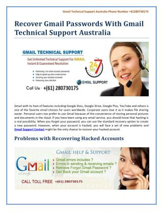 Recover Gmail Passwords With Gmail Technical Support Australia