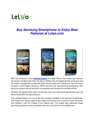 Buy Samsung Smartphone to Enjoy Best Features at Lelyo.com