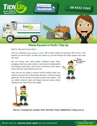 Waste Recycle In Perth | Tidy Up