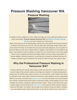 Pressure Washing Vancouver WA