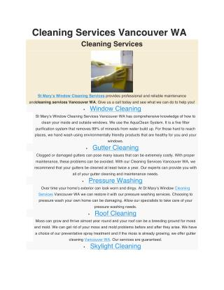 Cleaning Services Vancouver WA