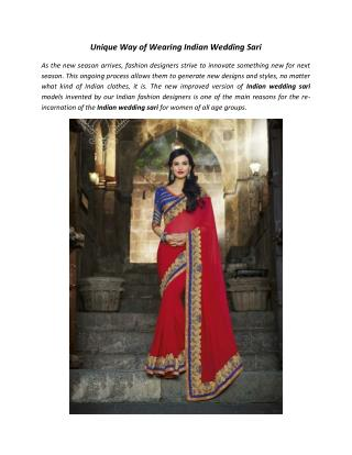 Unique Way of Wearing Indian Wedding Sari