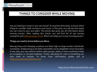 Things to Consider While Moving to Other Location