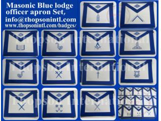 Masonic blue lodge officer apron set