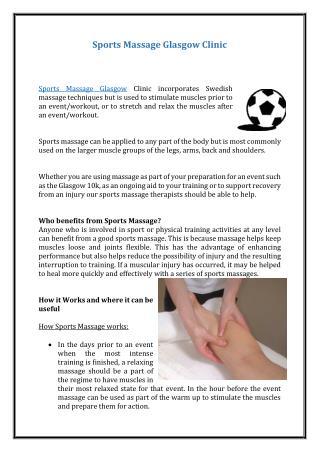 Sports Massage Glasgow Clinic