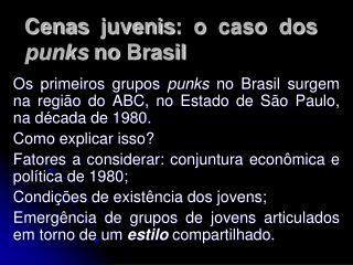 Cenas juvenis: o caso dos punks no Brasil
