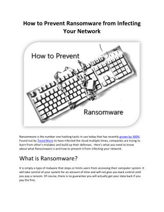 How to Prevent Ransomware from Infecting Your Network