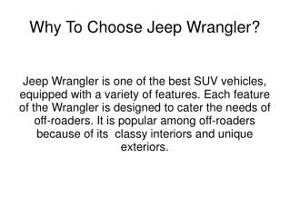 Why To Choose Jeep Wrangler?