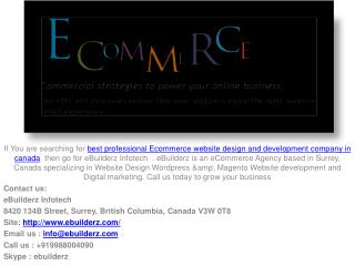 Best professional Ecommerce website design and development company in canada
