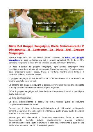 Dieta Del Gruppo Sanguigno, Dieta Disintossicante E Dimagrante E Confronto La Dieta Del Gruppo Sanguigno