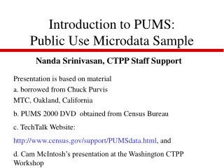 Introduction to PUMS: Public Use Microdata Sample