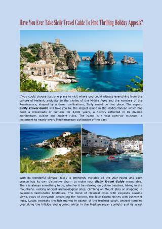 Have You Ever Take Sicily Travel Guide To Find Thrilling Holiday Appeals?