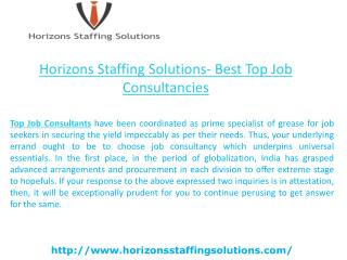 Horizons Staffing Solutions- Best Top Job Consultancies