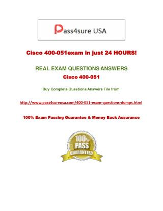 Pass4sure 400-051 Practice Questions