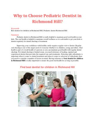Why to Choose Pediatric Dentist in Richmond Hill?