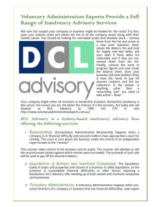 Voluntary Administration Experts Provide A Full Range Of Insolvency Advisory Services