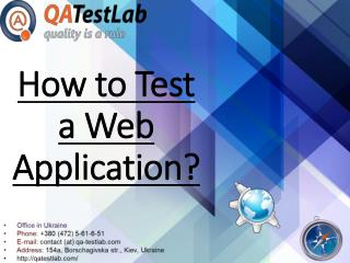 How to Test a Web Application?