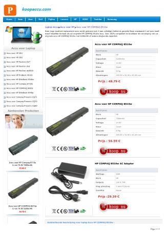 Accu voor HP COMPAQ 8510w