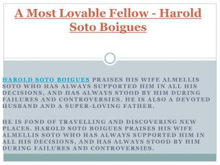 A Most Lovable Fellow - Harold Soto Boigues